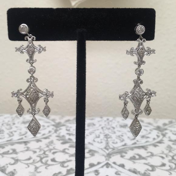 Rodium and diamonique chandelier pierced earrings
